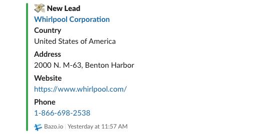 Screen pokazujący nowy lead z BAZO i powiadomienie w aplikacji Slack